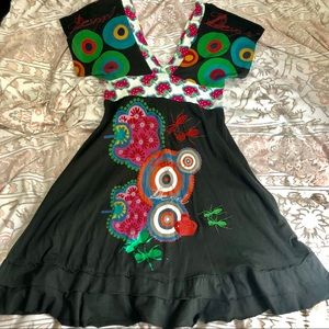 DESIGUAL V neck Black Dress Sz M